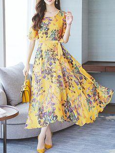 Summer V-Neck Floral Printed Chiffon Maxi Dress Maxi Robes, Chiffon Maxi Dress, Dress Skirt, Vestido Dress, Floral Chiffon, Skater Dress, Dress Outfits, Casual Dresses, Fashion Dresses