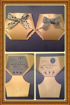 Diaper Baby Shower Invitation. Kept a neutral color scheme with blue, cream and grey.  Diaper template found here  http://www.jaymelendez.com/2013/03/how-to-make-baby-shower-diaper.html?m=1  Used my own inner template.