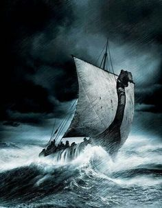 Drakkar... The most awesome ships ever made, but it takes a lot of courage, getting out onto the treacherous north sea, with it's permanently direction shifting gale force storm winds, in such shallow vessels!