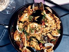 Seafood-and-Chicken Paella with Chorizo | At her restaurant, Brasa, pork-loving chef Tamara Murphy makes her own chorizo for the excellent paella on her menu. As for the seafood in the dish, s...