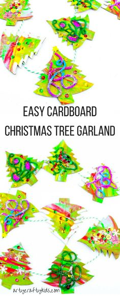 Arty Crafty Kids | Christmas Craft | Cardboard Christmas Tree Garland Craft for Kids | A process led Christmas Tree craft for kids.
