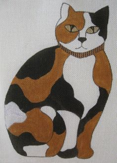 Handpainted-Needlepoint-Canvas-Boots-Bailey-Calico-Cat-14-Count-7016