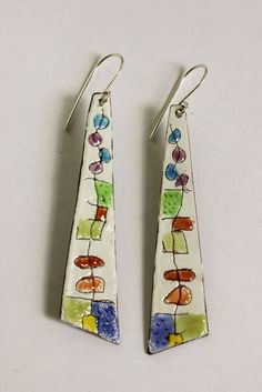 Copper Enamel and Sterling Silver Earrings by SuzanneLoveJewelry