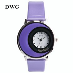 9.60$  Buy now - http://alikow.shopchina.info/go.php?t=32622689910 - High-end Purple Analog Quartz Watch Elegant Women's Wristwatches Round Dial Clock Leather Watchband Buckle Clasp  #aliexpress