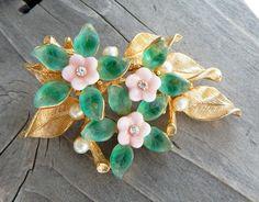 Vintage Signed Art Flower Brooch Pink Glass Flowers Glass Leaves Faux Pearls Rhinestones Bouquet