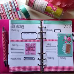 """""""First page of this year. Pink and girlie as I am now moved into my pink patent domino. #filofax #filofaxdomino #decoratedpages"""""""