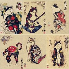 Japanese ukiyo-e print Samurady Cat Tattoo Cat Tattoo Shop Retro Poster Kraft Pa. - Japanese ukiyo-e print Samurady Cat Tattoo Cat Tattoo Shop Retro Poster Kraft Paper Decorative Mura - Japanese Tattoo Symbols, Japanese Tattoo Art, Japanese Tattoo Designs, Japanese Paper Art, Japanese Art Prints, Japanese Wall Art, Japanese Sleeve Tattoos, Tattoo Word, Tattoo Flash