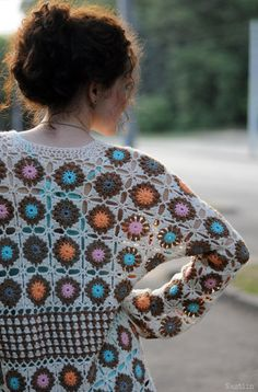 SALE Crochet granny square cardigan White crochet by Nastiin