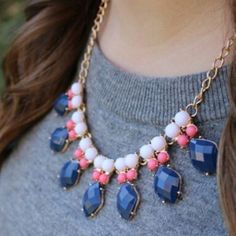 🎉HOST PICK🎉Peacock Statement Necklace Gorgeous necklace with a long night extender so you can make it as long or as short as you like! Navy, coral, and white stones with a gold chain. Jewelry Necklaces