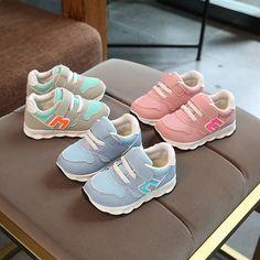 50668df5fb87 2018 Forår   Efterår unisex piger drenge sko Patch blonder up baby sneakers  shinning varmt salg