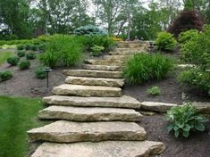 stone garden steps Landscape & Maintenance Cincinnati Landscape and Maintenance Hillside Landscaping, Landscaping With Rocks, Backyard Landscaping, Landscaping Ideas, Sidewalk Landscaping, Landscaping Software, Landscape Stairs, Landscape Design, Garden Design