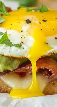 ... Stack ~ Hash browns, bacon, egg, green chili, cheese and guacamole