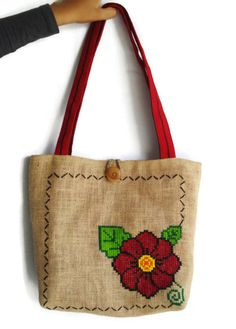 Mexican Reversible Tote Burlap Tote Bag With by GiveAMiracle