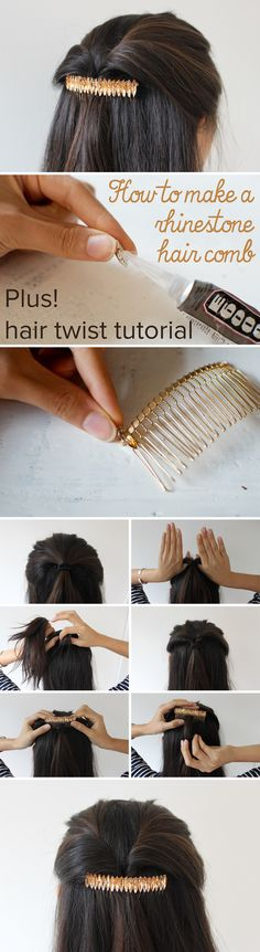 Create this elegant rhinestone hair comb and twisted hair style in a few simple steps. http://www.ehow.com/ehow-style/blog/diy-rhinestone-hair-comb/?utm_source=pinterest&utm_medium=fanpage&utm_content=blog