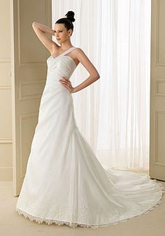 Charming Organza A-Line Chapel Train One Shoulder Wedding Dress With Ruching & Lace