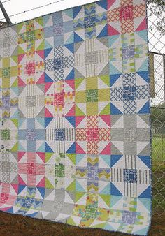 Mod Nine Patch Throw | Looking for a challenge? Then this quilting tutorial is perfect for you!