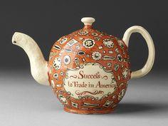 "Unknown manuf. (England) No Stamp Act Teapot c. 1766 earthenware, glaze 4 x 6.25 x 3.5"" Kamm Teapot Foundation, 2009.82"