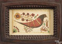Winning bid:$16,000   Southeastern Pennsylvania watercolor fraktur of a bird, early 19th c., 4'' x 6 1/2''. - Price Estimate: $800 - $1200