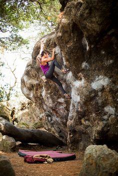"topo-designs: ""Lindsey Tijian tackling boulder problems. Topo Designs Fleece + Klettersack Photo: bearcamblog """