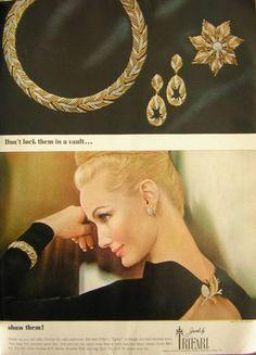 1963 Trifari jewelry ad ''Don't lock them in a vault... show them!'' - Harper's Bazaar