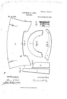 Lavinia H. Foy Skirt Supporting Corset, patent applied for in 1863 and reissued in 1875. Fig. A is the main body piece, and the slits in it are for the bust gussets, which means the openings go at center front. So many cookies to the person who figures this out and makes one!