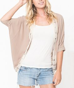 Look at this Taupe Lace-Trim Open Cardigan - Women on #zulily today!