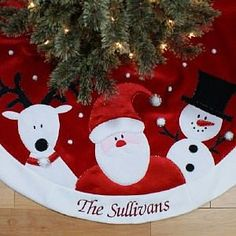personalized santa reindeer and snowman embroidered red christmas tree skirt