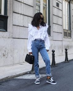 31 Perfect Looks To Copy This October #refinery29  http://www.refinery29.com/2016/10/124898/new-outfit-ideas-october-2016#slide-7  Alternative shirting at its finest. If you haven't already, invest in a white button-up that features something different, like tons of ruffles or extra-long sleeves....