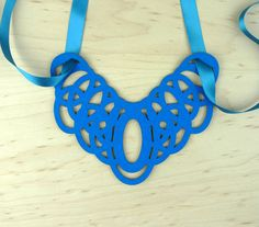 Bib necklace in blue eco friendly wool felt by MarmaladePark