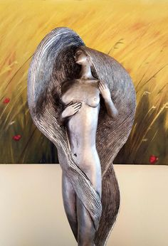 """Retired David Fisher Austin Production Inc. 1987 Large Sculpture """"Inspiration"""" 31"""" tall of a Woman with long flowing hair, Fisher Sculpture by VetterleinArt on Etsy"""