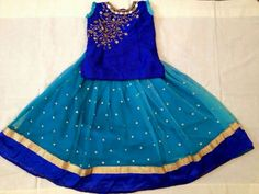 Sky Blue and Dark Blue Lehenga - Indian Dresses Girls Frock Design, Kids Frocks Design, Baby Dress Design, Baby Girl Frocks, Frocks For Girls, Dresses Kids Girl, Baby Dresses, Choli Designs, Kids Blouse Designs