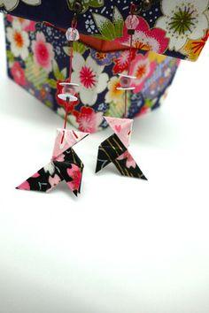Boucles d'oreilles origami cocotte  lapin rose