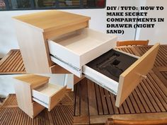 DIY / TUTO : How to make secret compartments in drawer (With an IKEA Malm Nights… - Diy Furniture Beds Ideen Hidden Gun Storage, Secret Storage, Diy Storage, Hidden Spaces, Hidden Rooms, Ikea Malm Nightstand, Nightstands, Furniture Projects, Diy Furniture