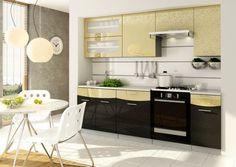 Brązowo-złote meble kuchenne Smile Flowers firmy Stolkar