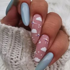 Beauty Designs for Almond Nails Shape Beauty Designs for Almond Nails Shape,Nail Shapes Ideas Unreal Sky Nails Art ❤ 35 Lovely Designs for Almond Nails You Won't Resist ❤ See more ideas on our. Sky Nails, Fire Nails, Glitter Nails, Sky Blue Nails, Hallographic Nails, Best Acrylic Nails, Acrylic Nail Designs, Designs On Nails, Nail Designs For Summer