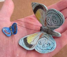 Paper Mache Clay Butterflies, Painted