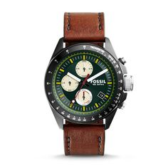 Decker Chronograph Brown Leather Watch
