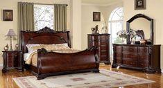 Sleigh Bedroom Set, Wood Bedroom Sets, Sleigh Beds, Modern Bedroom, Bedroom Furniture, Bedroom Decor, Design Bedroom, Luxury Furniture, California King Bedroom Sets