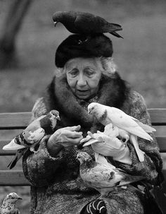 Feed the birds at the park.or at Burger King! - Suzy Grange Bird Lady of Central Park NYC Black White Photos, Black N White, Black And White Photography, Vintage Photography, Street Photography, Night Photography, Photography Photos, Landscape Photography, Old Photos