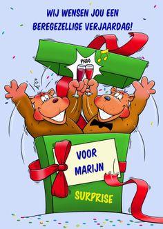 Grappige verjaardagkaart met beren die uit een doos komen. Surprise, een beregezellige dag. Aan de binnenzijde maken ze een dansje.  Design: Hans Elsenburg  Te vinden op www.kaartje2go.nl