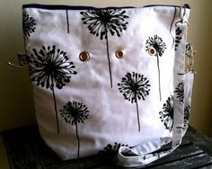 Top Shelf Totes Yarn Pop - Totable - Black & White Dandelion