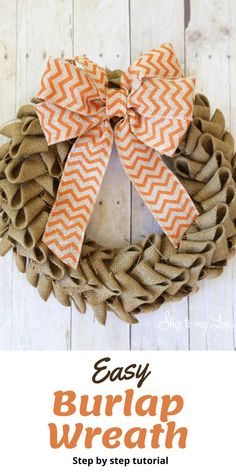 You will be surprised at how quickly it can come together and you will have created your own decoration for your home. Burlap now comes in a variety of colors so you can make a burlap wreath for any holiday! This natural burlap works perfectly for a fall burlap wreath. When working with burlap you can create beautiful rustic looking wreaths or elegantly rustic wreaths. This can be done by adding bits of detail such as lace, flowers, and stems of cotton. Tutorial on Skiptomylou.com. Easy Burlap Wreath, Burlap Wreath Tutorial, Rustic Wreaths, Adult Crafts, Fun Crafts, Crafts For Kids, Fall Door Decorations, Recycled Crafts, Diy Tutorial