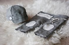baby hat and baby pants, simply from organic linen in gray and cream, newborn Photo prop, boy prop