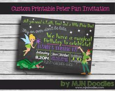 Custom Peter Pan Birthday Invitation - Never Never Land - Tinkerbell - Hook - Disney - Fairy - Pirate - Printable - Digital - Customizable
