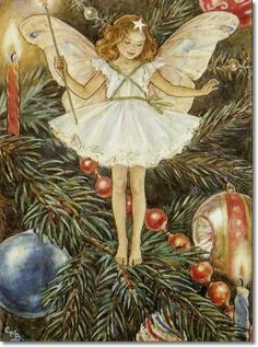 Cicely Mary Barker - Flower Fairies of the Winter - The Christmas Tree Fairy Painting