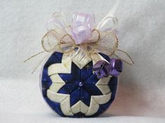 Quilted Christmas Ornament no sew purple and by KCFabricOrnaments, $15.00