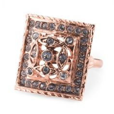 Mia Fiore Rose Gold Plated Swarovski Crystal Ring