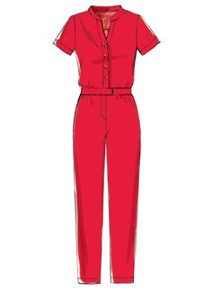 McCall's Sewing Pattern Misses' Button-Up Utility Jumpsuits and Rompers Dress Design Drawing, Dress Design Sketches, Dress Drawing, Fashion Design Drawings, Drawing Clothes, Fashion Sketches, New Fashion Clothes, Fashion Art, Fashion Drawing Dresses
