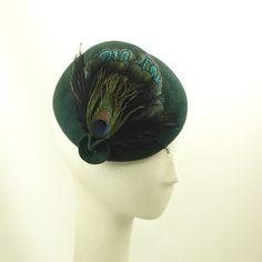 Handmade Dark Green Fur Felt Mini Cloche Hat for Women Peacock Feathers - The Millinery Shop