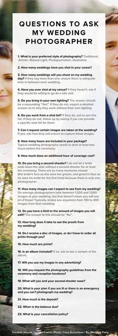 Questions to ask your wedding photographer! Great #wedding #advice.